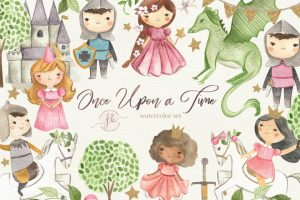 Once Upon a Time – Princess and Knight Watercolor Clipart