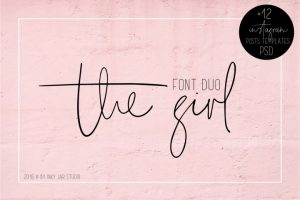 The Girl Font Duo + 12 PSD Instagram Post Templates